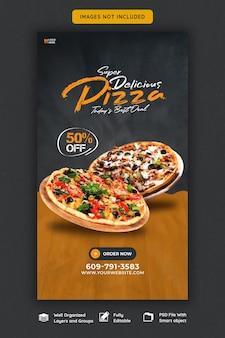 Menu del cibo e deliziosa pizza instagram e modello di storia di facebook