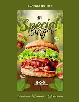 Food menu and delicious pizza social media banner template