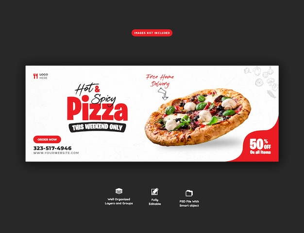 Food menu and delicious pizza social media cover template