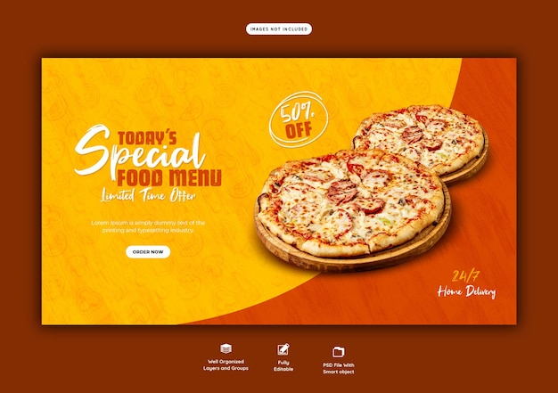 Food menu and delicious pizza web banner template