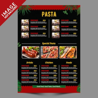 Food menu flyer template back side