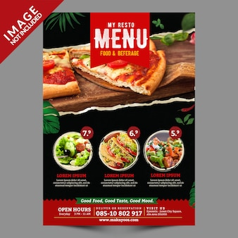 Food menu flyer template front side