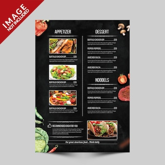 Food menu flyer template side c