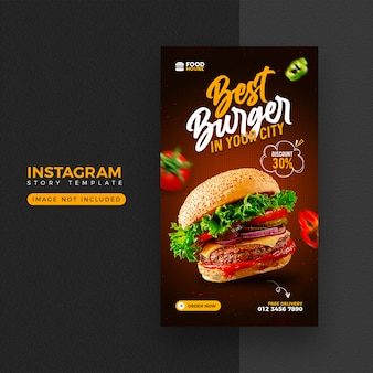 Еда меню instagram и шаблон истории facebook