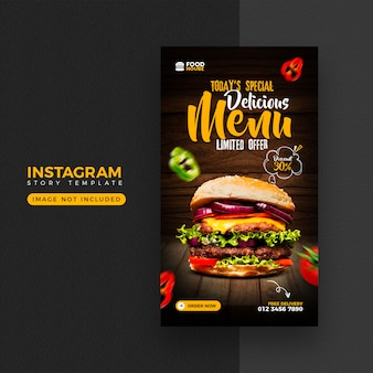 Food menu instagram and facebook story template