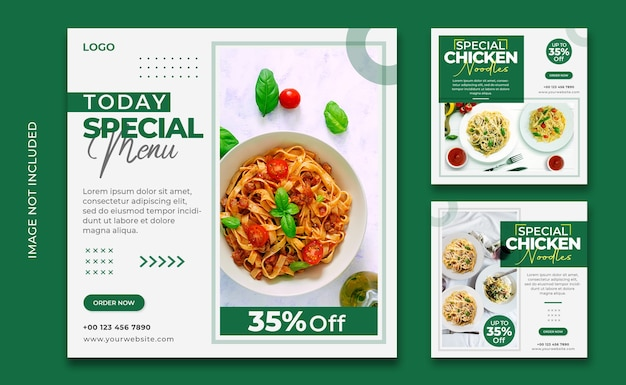 Food menu pages for web banner template
