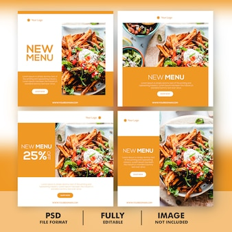 Food menu promotion social media instagram post banner template