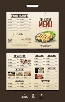 Modello di brochure pieghevole per menu di cibo e ristorante