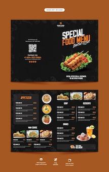 Food menu and restaurant bifold brochure template