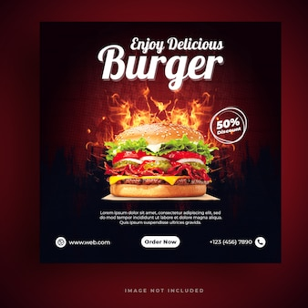 Food menu and restaurant burger social media banner template