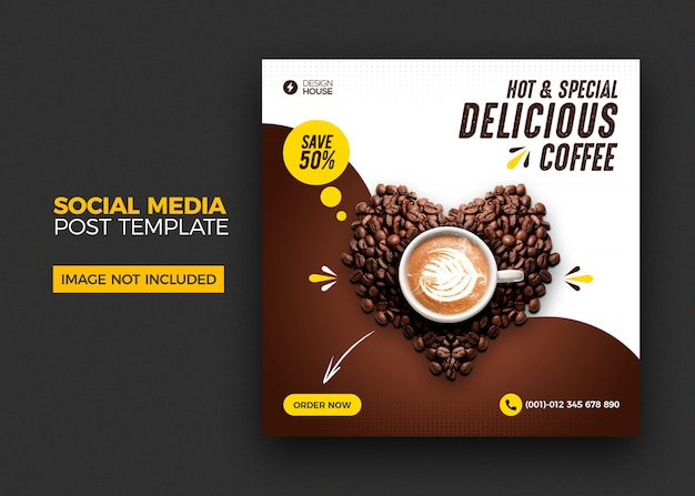 Food menu and restaurant coffee social media post template