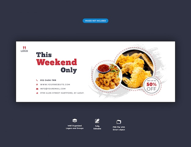 Food menu and restaurant facebook cover banner template