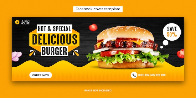 Food menu and restaurant facebook cover post template