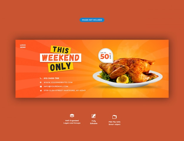 Food menu and restaurant facebook cover template premium psd