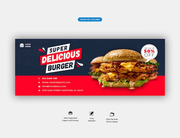 Food menu and restaurant facebook cover template premium psd