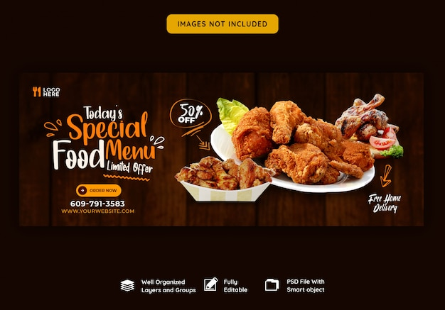 Food menu and restaurant facebook cover template