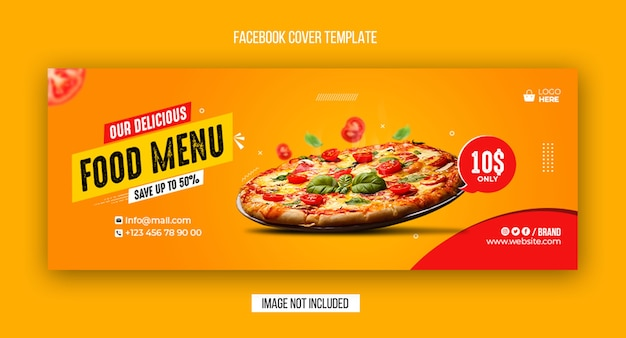 Food menu and restaurant facebook cover and web banner template design