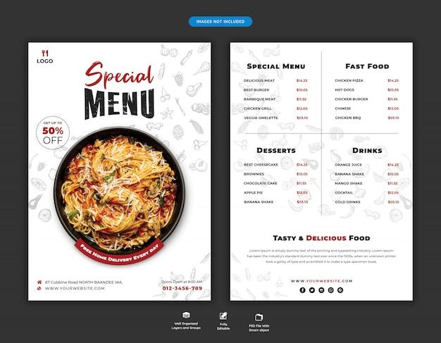 Food menu and restaurant flyer template