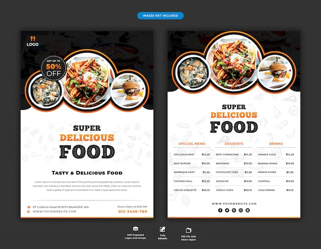 Food menu and restaurant flyer template