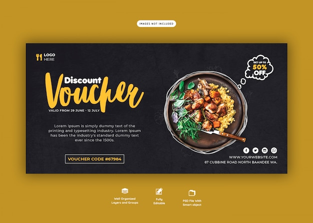 Food menu and restaurant gift voucher template