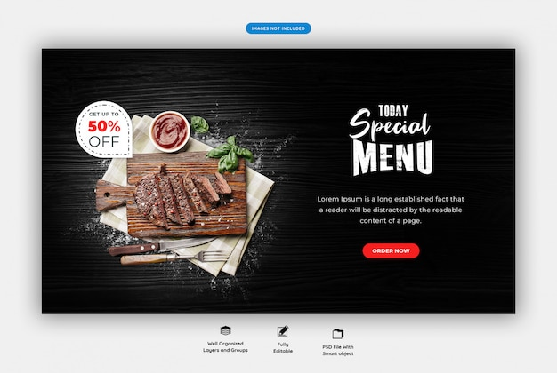 Food menu and restaurant horizontal web banner template