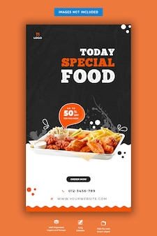 Food menu and restaurant instagram story template