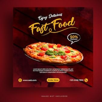 Food menu and restaurant pizza social media banner template