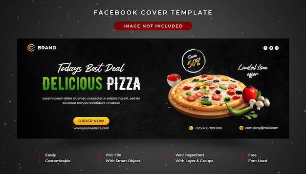 Food menu and restaurant promotional facebook cover and web banner template