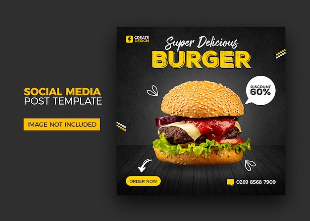 Food menu and restaurant social media banner post template