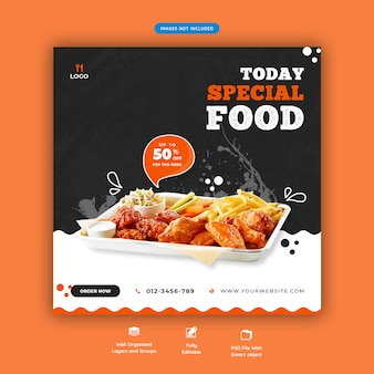 Food menu and restaurant social media banner template