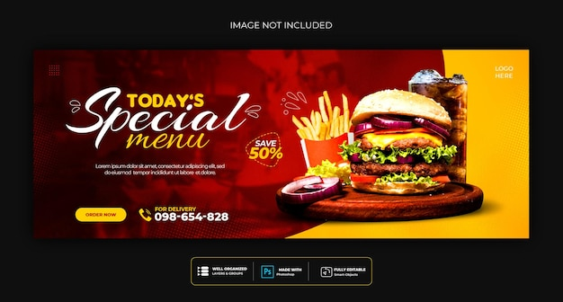 Food menu and restaurant social media cover template
