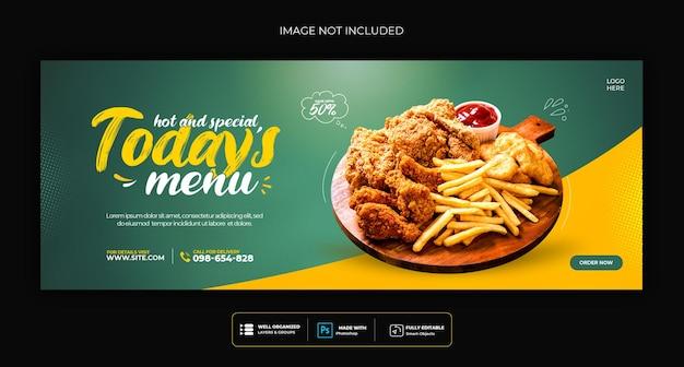 Menu di cibo e modello di copertina dei social media del ristorante