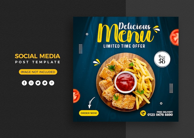 Food menu and restaurant social media post and instagram banner template