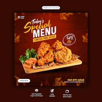 Food menu and restaurant social media post template