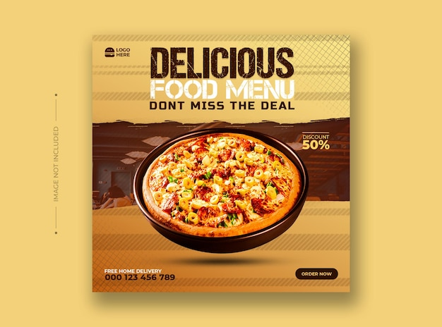 Food menu and restaurant social media post template Premium Psd