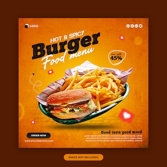 Food menu and restaurant social media post and web banner design template