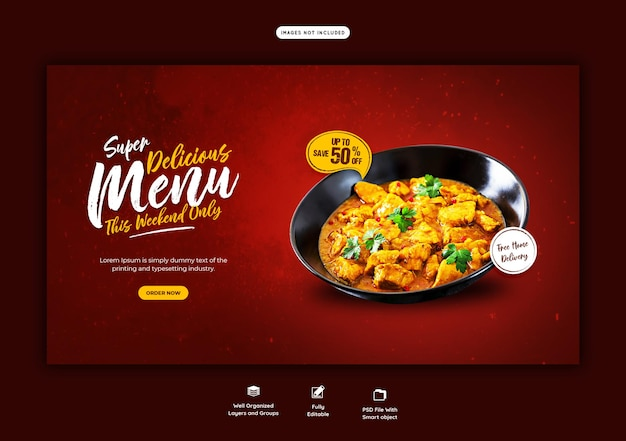 Food menu and restaurant web banner template