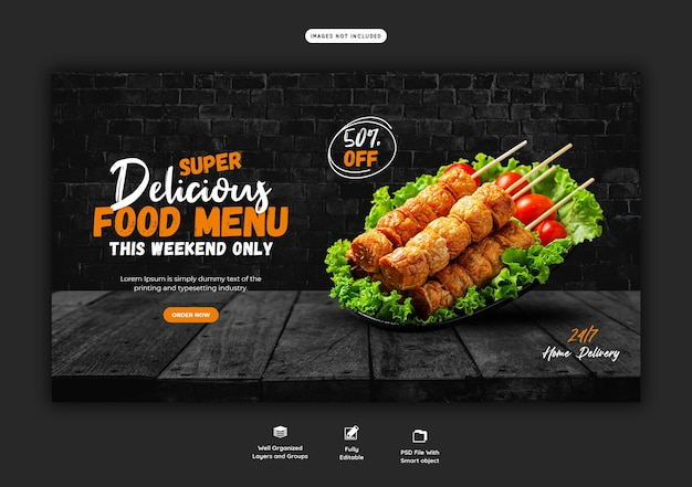 Menu di cibo e modello di banner web del ristorante