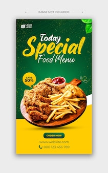 Food menu social media and instagram post template