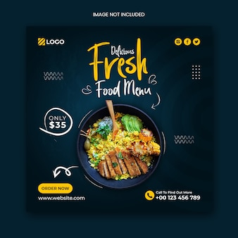 Food menu social media post banner template