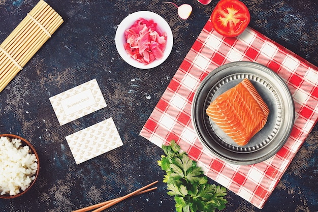 Food mockup with sushi design