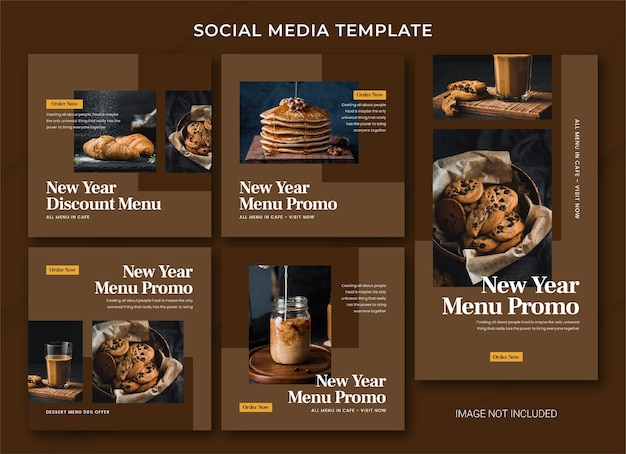 Food new year sale instagram post bundle template