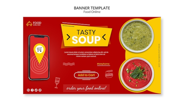 Food online concept banner mock-up