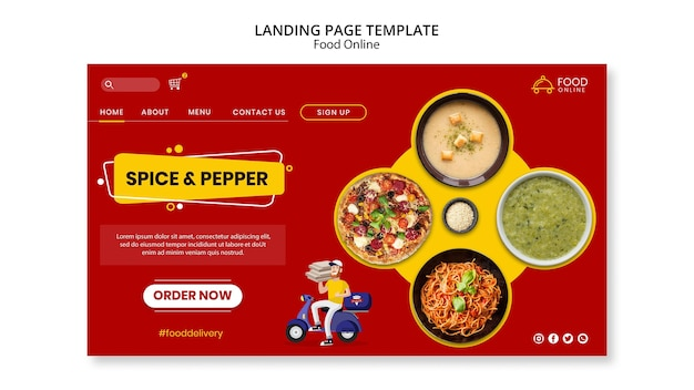Food online concept landing page mock-up
