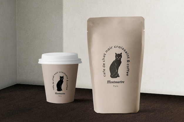Food packaging mockup psd with paper cup and pouch