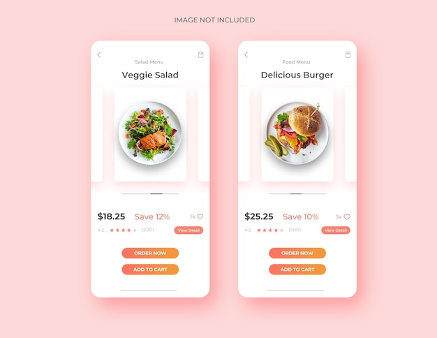 Food page ui design app concept template