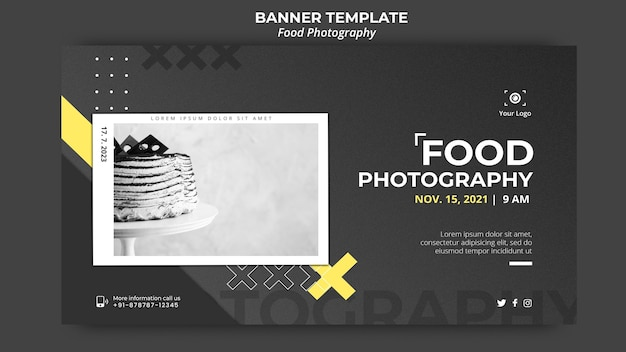 Food photography ad banner template
