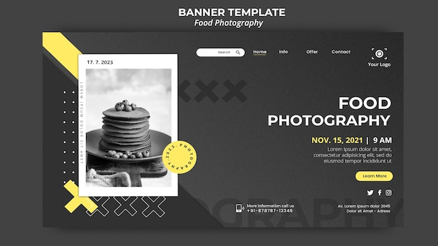 Food photography landing page template