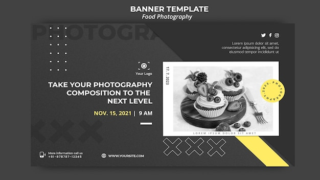 Food photography template banner