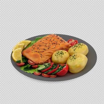 Food on plate 3d render